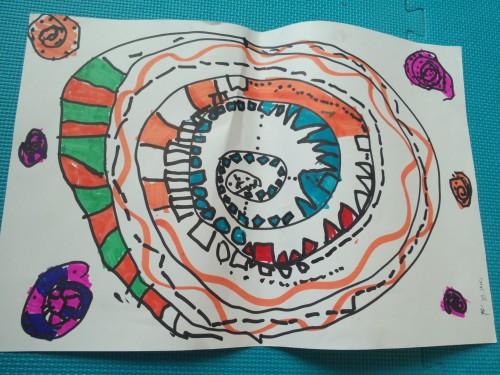 嘟嘟:我画了在冬眠的蛇~-美术作品 蛇
