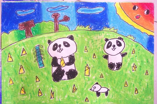 儿童绘画——熊猫一家