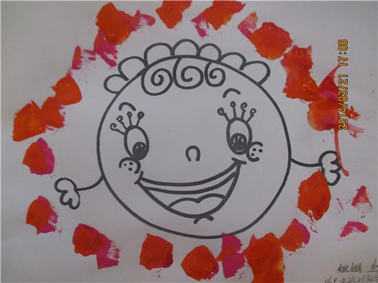 黄班水粉画《可爱的太阳》