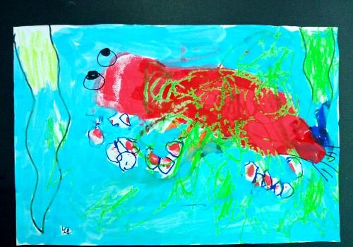 龙虾 螃蟹儿童画