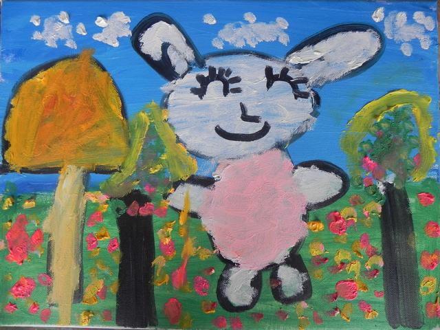 油画之可爱的小白兔国际中班晨晨