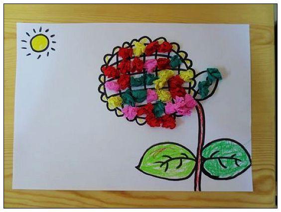 皱纹纸团画 _ 红黄蓝|早教|早教中心