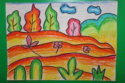 秋天的画儿童画画大全展示图片