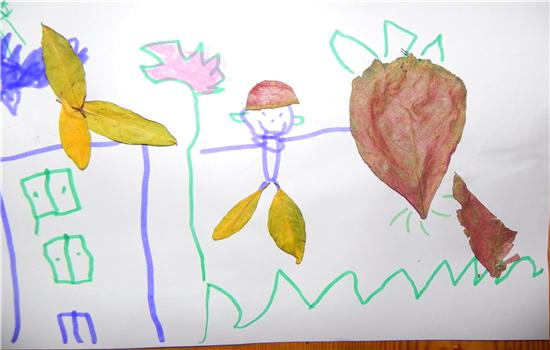 树叶粘贴画图片大全小白兔