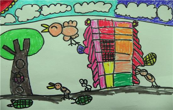 小鸡拜年儿童画