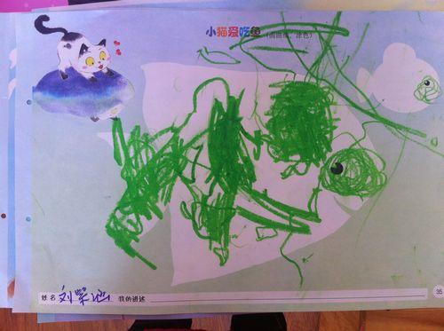 粉一班蜡笔画 小猫爱吃鱼