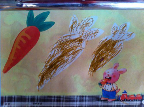粉一班彩笔画 小兔子的胡萝卜