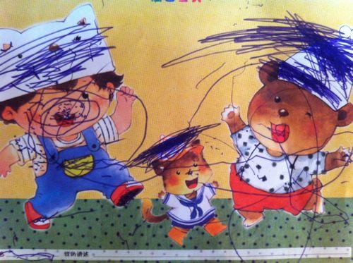 粉一班彩笔画——《小熊的帽子》