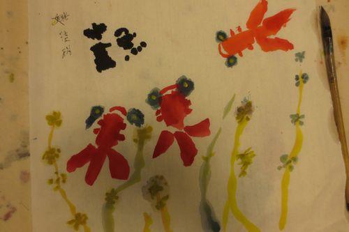 小金鱼(水墨画)
