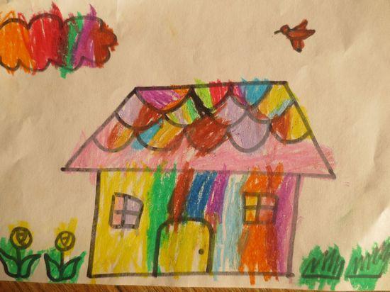 小区房子房子儿童画