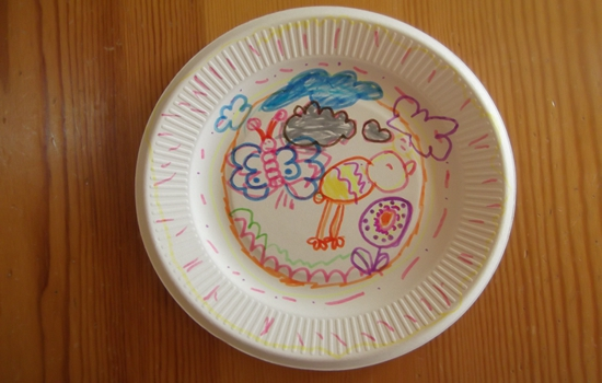 盘子创意画 _ 红黄蓝|早教|早教中心