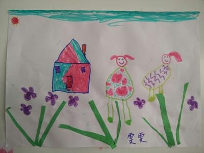 彩笔画 一起去春游