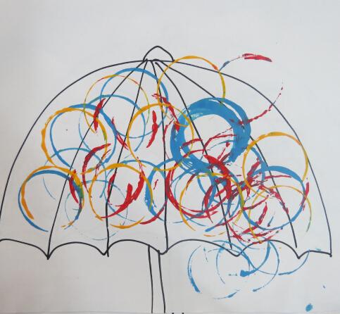 粉班印画——可爱的雨伞
