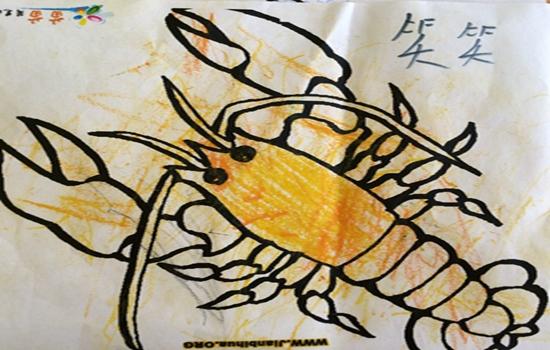 儿童国画龙虾画法步骤