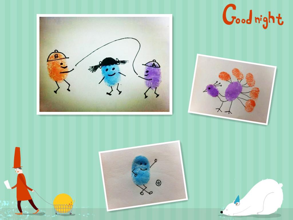 印完指印简单画几笔,一个可爱的动物就跃然纸上喽!