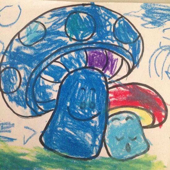 初中生获奖风景蘑菇儿童画