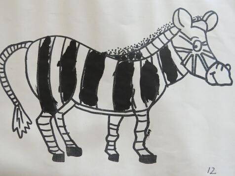 木刻版画素材斑马