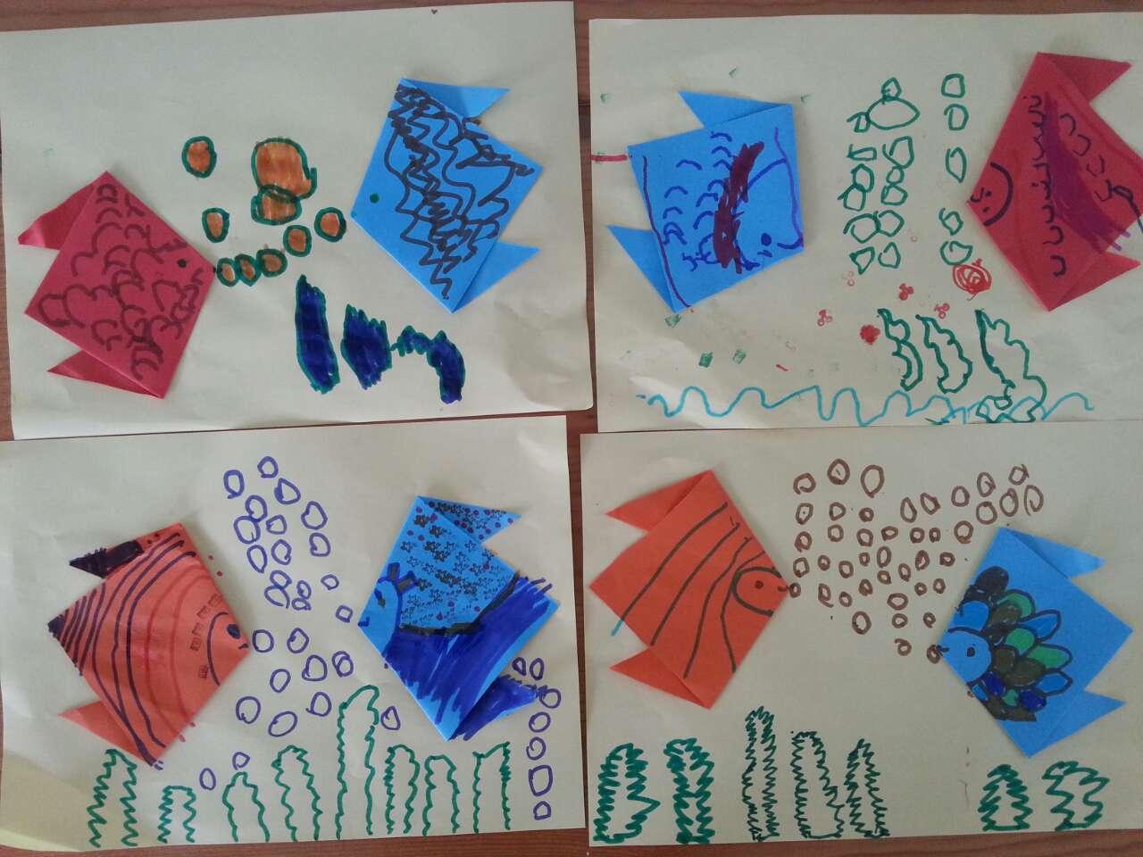 折纸绘画--《亲亲鱼》图片