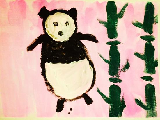 大熊猫吃竹子画画大全